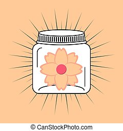 beautiful mason jar with floral decoration vector illustration design