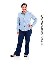 beautiful mature woman standing on white background