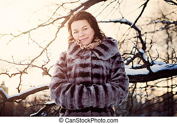 Beautiful Mature Woman Wearing Winter Fur Coat
