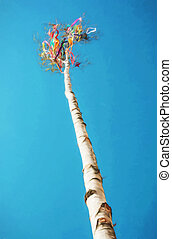 Beautiful maypole and blue sky, illustration with colored pencils