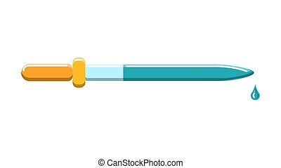 Beautiful medical glass pipette with a drop for instillation of drugs in the eyes on a white background. Vector illustration