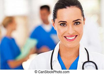 medical nurse closeup portrait - beautiful medical nurse...