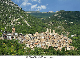 beautiful medieval small town Pacentro in Abruzzo, Italy, Europe - known for being the village of origin of Gaetano Ciccone and Michelina Di Iulio, the paternal grandparents of the Madonna singer
