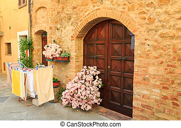 Beautiful medieval town of narrow streets and charming porch...