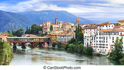 Beautiful medieval towns of Italy -picturesque Bassano del Grappa in Veneto region