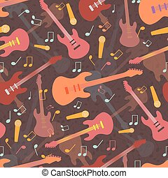 Beautiful mellow guitar and music design in multicolor hues of orange and pink. Seamless vector pattern on warm brown layered background. Great for music products, giftwrap, stationery, fabric, print