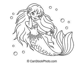 Beautiful mermaid Coloring Page for kids