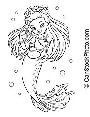 Beautiful Mermaid Fashionista Coloring Page - vector ...