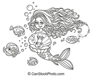 Beautiful mermaid girl holding a pearl in a shell outlined isolated on white background