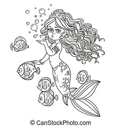 Beautiful mermaid girl sends an kiss outlined isolated on a white background
