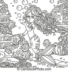 Beautiful mermaid girl sends an kiss underwater world with corals and fishes background outlined