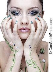 beautiful mermaid girl - portrait of beautiful girl with...