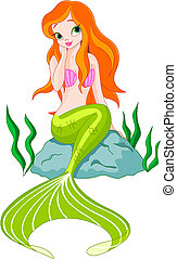 Beautiful Mermaid - Illustration of a Beautiful mermaid girl...