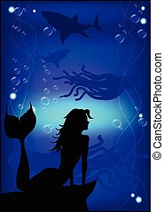 Beautiful mermaid silhouette against the background of the under
