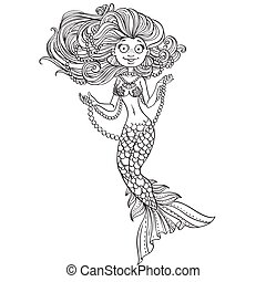 Beautiful mermaid with luxurious hair and strings of pearls...