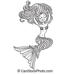Beautiful mermaid with luxurious hair outlined