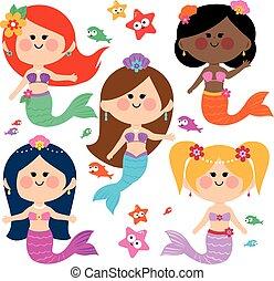 Beautiful mermaids collection. Vector illustration