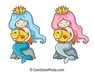 Beautiful mermaids with golden fish.