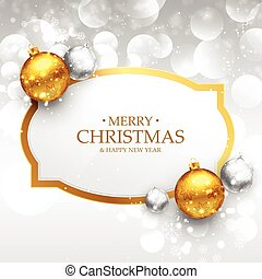 beautiful merry christmas greeting design with realistic gold and silver xmas balls