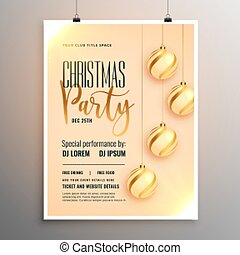 beautiful merry christmas party flyer template design