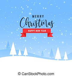 beautiful merry christmas winter landscape background design
