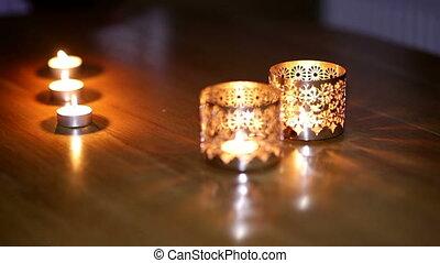 beautiful metallic candlesticks