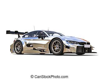 Beautiful metallic modern super race car - studio shot