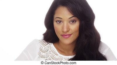 Beautiful Mexican woman smiling at camera