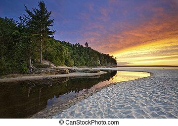Beautiful Michigan Landscape. - Image of Miners Beach at...
