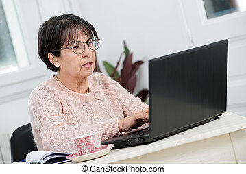 beautiful middle age woman using laptop in home