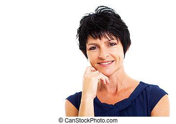 beautiful middle aged woman closeup portrait