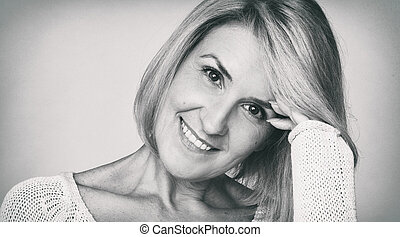 beautiful middle aged woman face