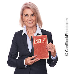 woman holds an English textbook