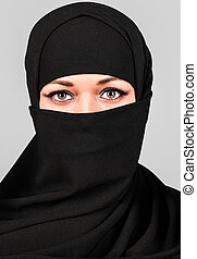Beautiful Middle eastern woman in niqab traditional veil