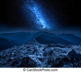 Beautiful milky way in mountains at night in Poland