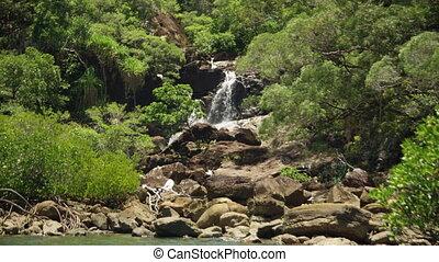 Beautiful mini waterfalls in a paradise
