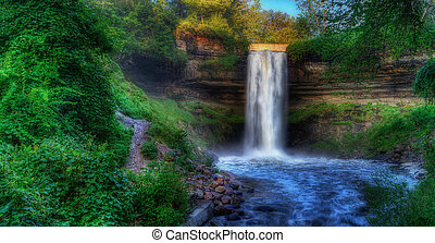 Beautiful Minnehaha Creek Waterfall in HDR High Dynamic Range