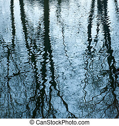 Beautiful mirroring of trees on water surface - Background...
