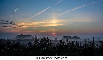 Beautiful misty autumn panorama