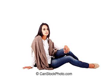 Beautiful mix race woman posing