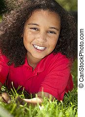 Beautiful Mixed Race African American Girl Smiling