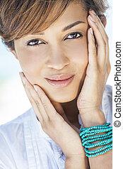 Beautiful Mixed Race Woman Smiling