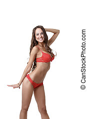 Beautiful model advertises red erotic lingerie