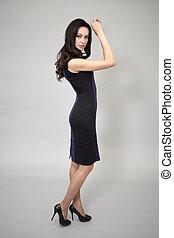 Beautiful model in fashion dress