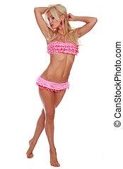 Beautiful model in pink bikini