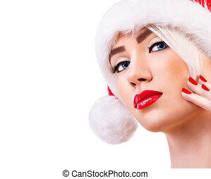 Beautiful model in santa hat
