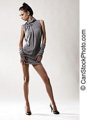 Beautiful model portrait - Beautiful slim model studio photo