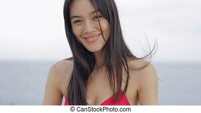 Beautiful model posing in bikini - Portrait of adorable...
