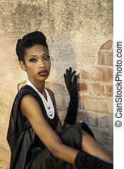 Beautiful model posing in retro sty