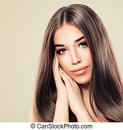 Beautiful Model with Perfect Skin and Long Healthy Hair